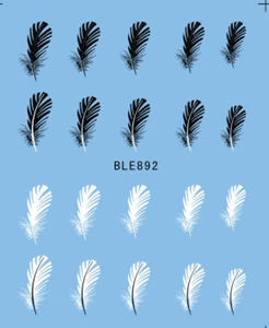 Image 2 - 1pcs Mooie Zwarte Witte Veer Nail Art Decal Stickers Fashion Tips Decoratie Watermerk Nail Art Decor Tool TRBLE892/ STZ
