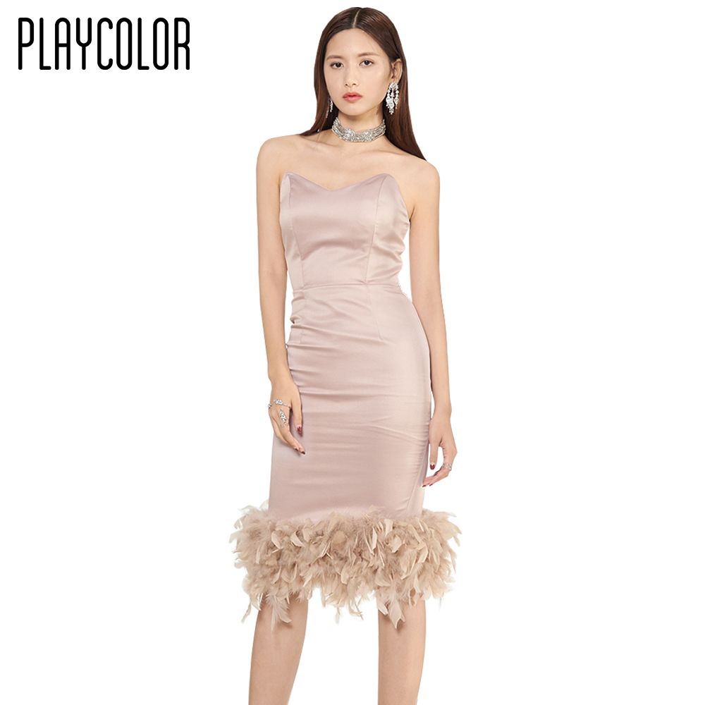 PLAYCOLOR Pink Feathers Strapless Evening Dresses Short