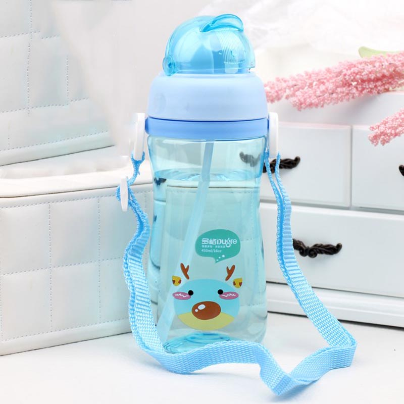 450ML Sippy Cup Tritan Pudding Straw Water Bottle Feeding Cup BPA Free For <font><b>Baby</b></font> Kids Leak-<font><b>poof</b></font> Children Learn Drinking Rope image