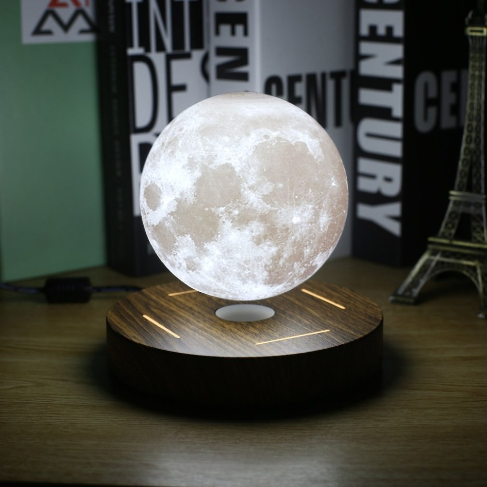 Magnetic Levitating 3D Moon Lamp 360 rotated Wooden Base table Night Lamp Floating Romantic Light Home office Decoraive blub us 3d levitation moon lamp magnetic floating led night light levitating toy gift wireless power supply creative home night lamp