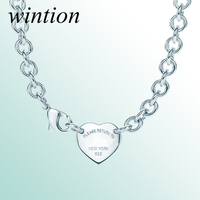Wintion tiff necklace Love pendant Original 100% 925 Sterling Silver Women Free Shipping Jewelry High end Quality Gift