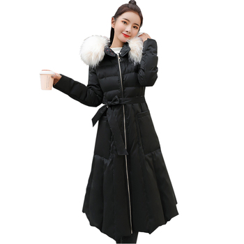 New Women Double Side Wear Cotton Coat Fashion Big Fur Collar Hooded Thick Long Warm Cotton Jackets Ladies Cotton Parkas YP2007