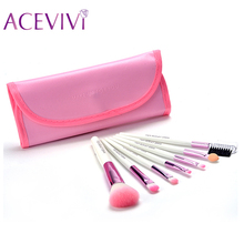 New 7pcs Professional Wool Cosmetics Makeup Brush Set Kit Cosmetic Brushe Tools Make Up Case $k