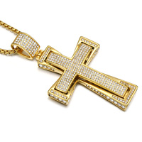 HIP Hop Gold Plated Stainless Steel 4 Row Iced Out Micro Pave Crystal Cross Pendants Necklaces