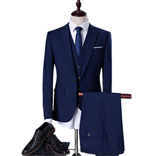 2017 new seasons style men suits business casual slim suits wedding dress and groom groomsman occupation suit(Jacket+Pants+Vest)