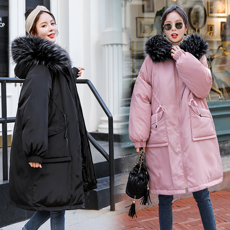e647c527ed14d Maternity Women New Moms Fluffy Collar Hooded Down Cotton Mid-long Cardigan Coat  Fashion Warm Puffer Outdoor Winter Jackets