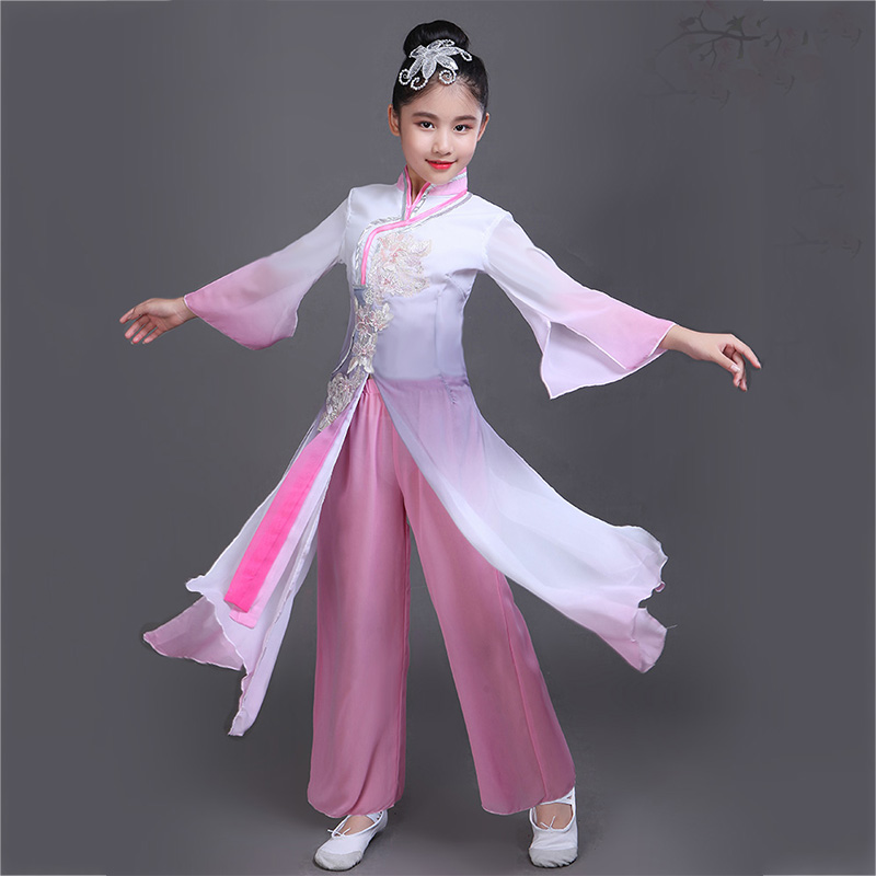 Children Traditional Ancient Chinese Style Girls Kids Tang Classical Dancing Costumes Long Sleeve Performance Wear Stage DN3488
