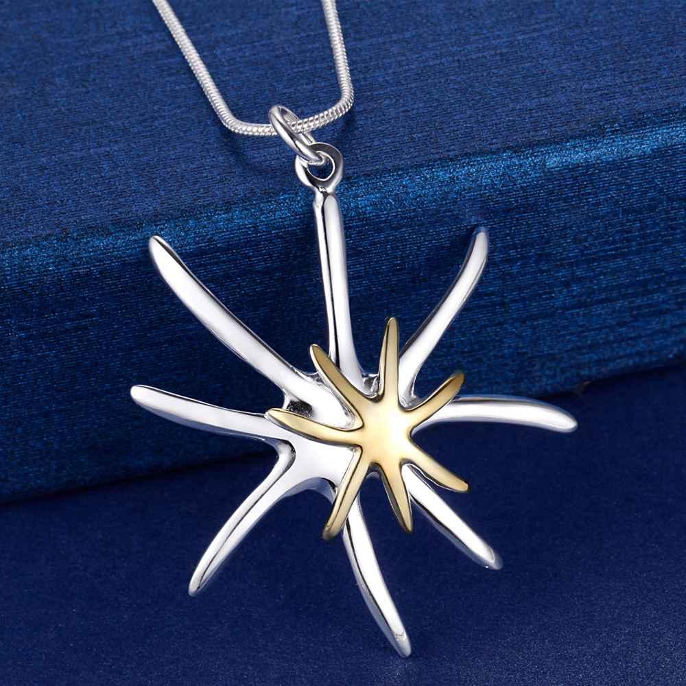 0607dccce936 Plata 925 joyería de moda collar Accesorios mujeres flor Collares y  colgantes 18 pulgadas Cadenas collares femeninos Navidad regalo
