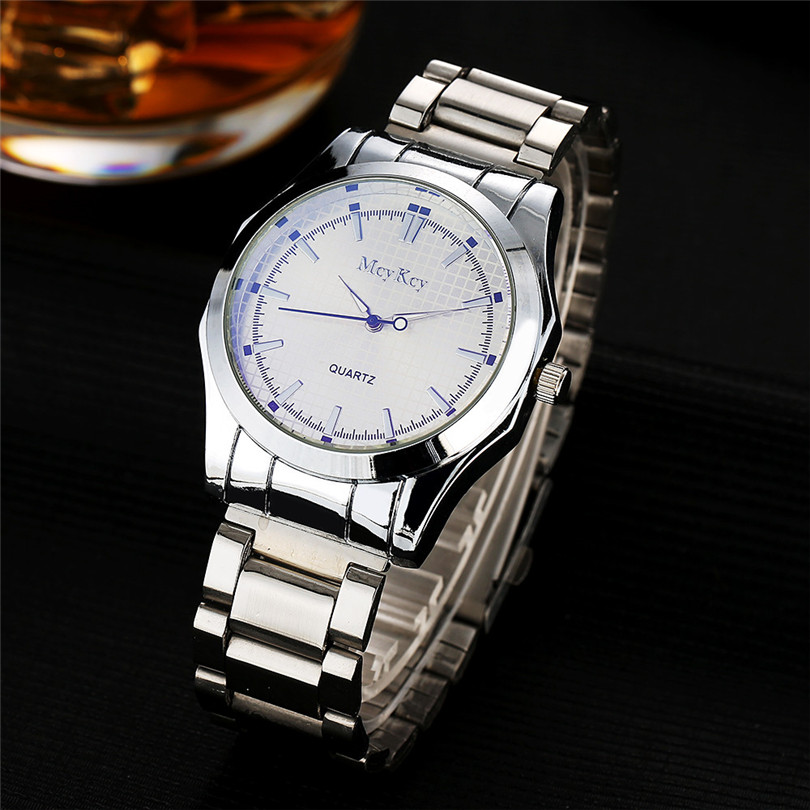 Fashion Men's Watch Simple Stainless Steel Analog Quartz Wrist Watch Bracelet Clasp reloj hombre dropshopping free shipping#40 stylish 8 led blue light digit stainless steel bracelet wrist watch black 1 cr2016