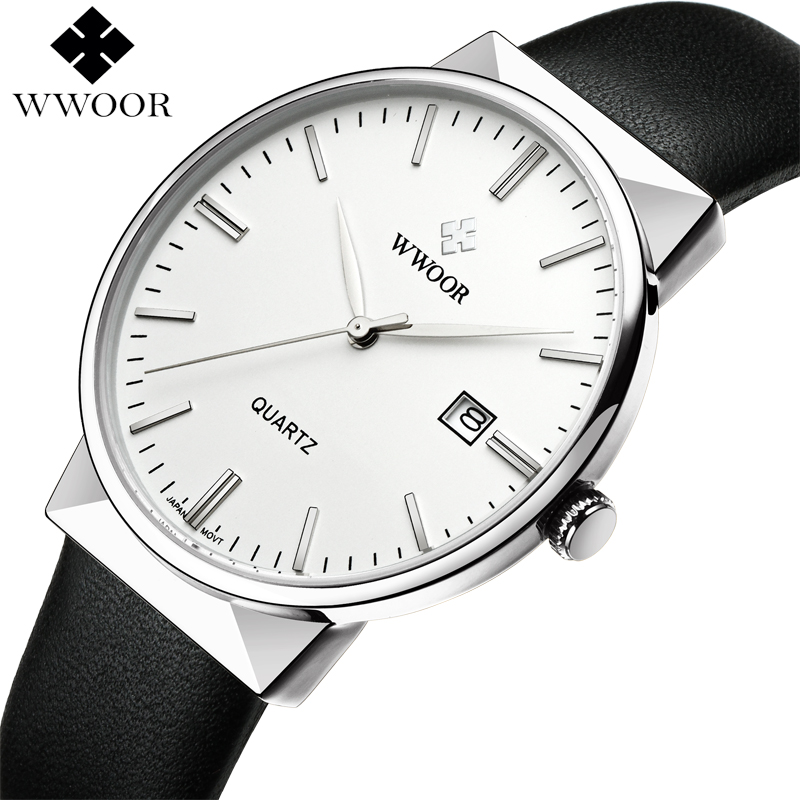 WWOOR Brand Luxury Men Fashion Waterproof Sports Watches Men's Quartz Analog Clock Male Leather Casual Watch Relogio Masculino top brand wwoor men stainess steel business black watches men s quartz sports wrist watch male casual clock relogio masculino