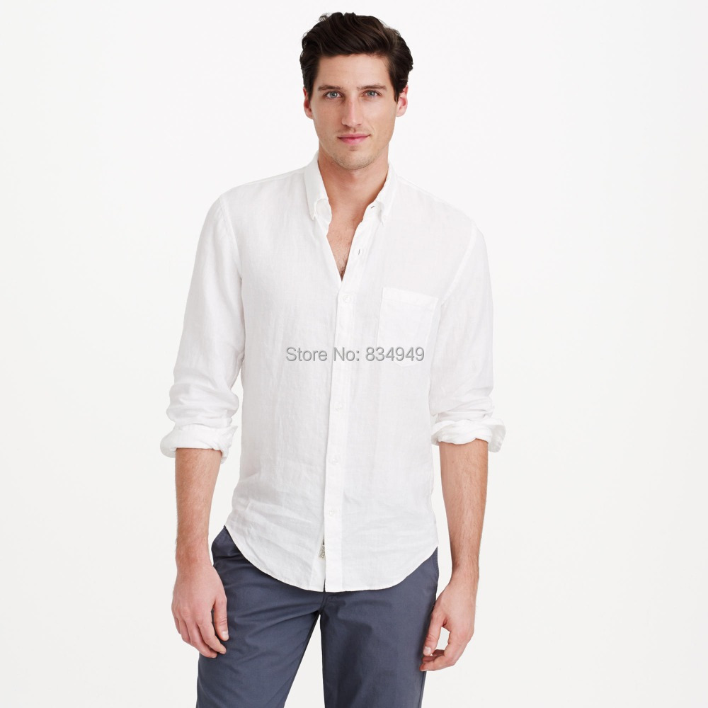 Popular White Linen Long Sleeve Shirts for Men-Buy Cheap White ...