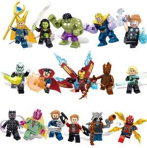 Image 2 - 16pcs נוקמי מלחמת אינסוף דמות סט Legoingly סופר גיבור ברזל Thor תאנסו פיטר האלק שחור פנתר אבני בניין דגם צעצועים