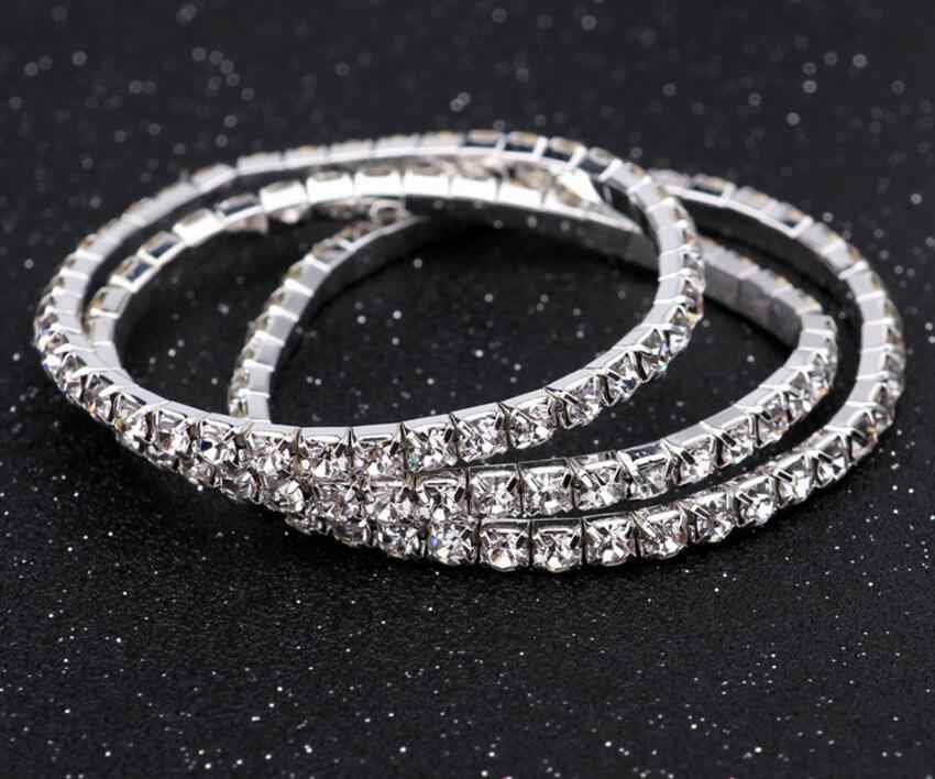 ae387f297e3 ... 1 Row Crystal Single Bangles Stretched Elastic Strand Wrist Rhinestone Wristband  Cuff Bracelet Women Wedding Party