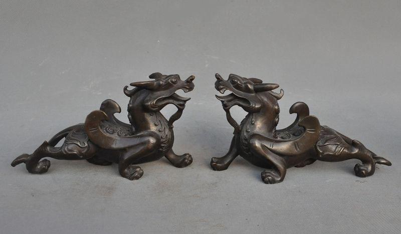 christmas Chinese fengshui Bronze Guardian Door Evil Kylin Unicorn Pixiu beast statue pair halloween
