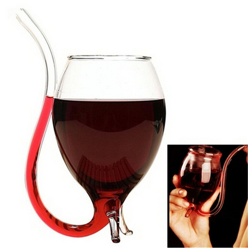 300ml 1Pcs Vampire Devil Red Wine Glass Cup Mug With Built in Drinking Tube Straw Wholesale