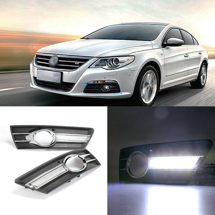 Brand New Updated LED Daytime Running Lights DRL With Black Fog Light Cover For VW CC 2009-2013 brand new updated led daytime running lights drl with black foglights cover for mazda 3 axela 2013 14