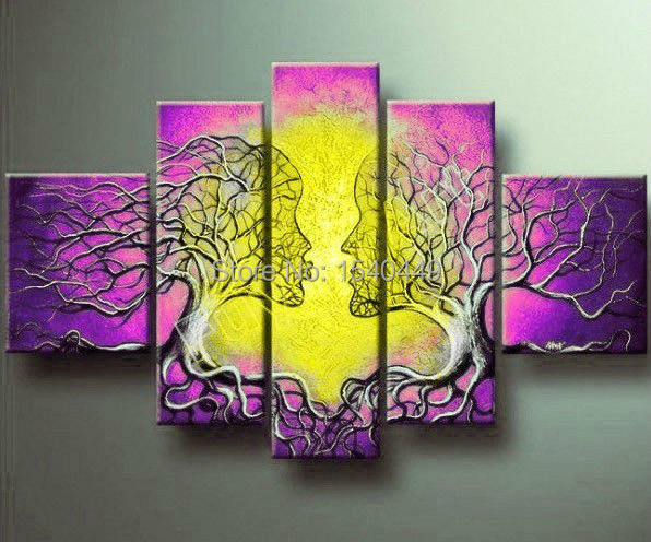 Cheap 5 Piece Wall Art Hand Painted Tree Painting Lovers Couples Set ...