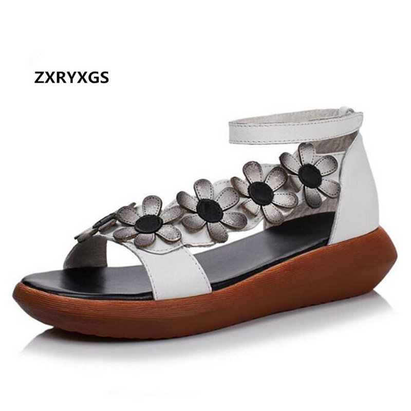 ZXRYXGS Brand Shoes Woman Fashion Sandals 2018 New Summer Flowers Genuine Leather Sandals Platform Wedges Summer Women Sandals gktinoo summer shoes woman genuine leather sandals open toe women shoes slip on wedges platform sandals women plus size 34 43