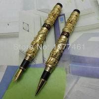 2PCS Jinhao Chinese double Dragons Playing With The Pearl gold rollerball pen and Fountain Pen J1183