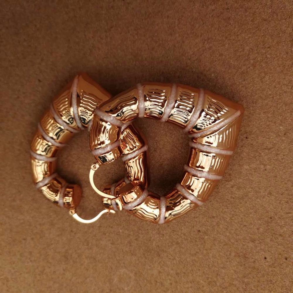 Anniyo Nigerian Traditional BIG HEART Enamel Earrings for Mama/Dada Jewelry Rose Gold African Ethiopian Bride Gift New #056604