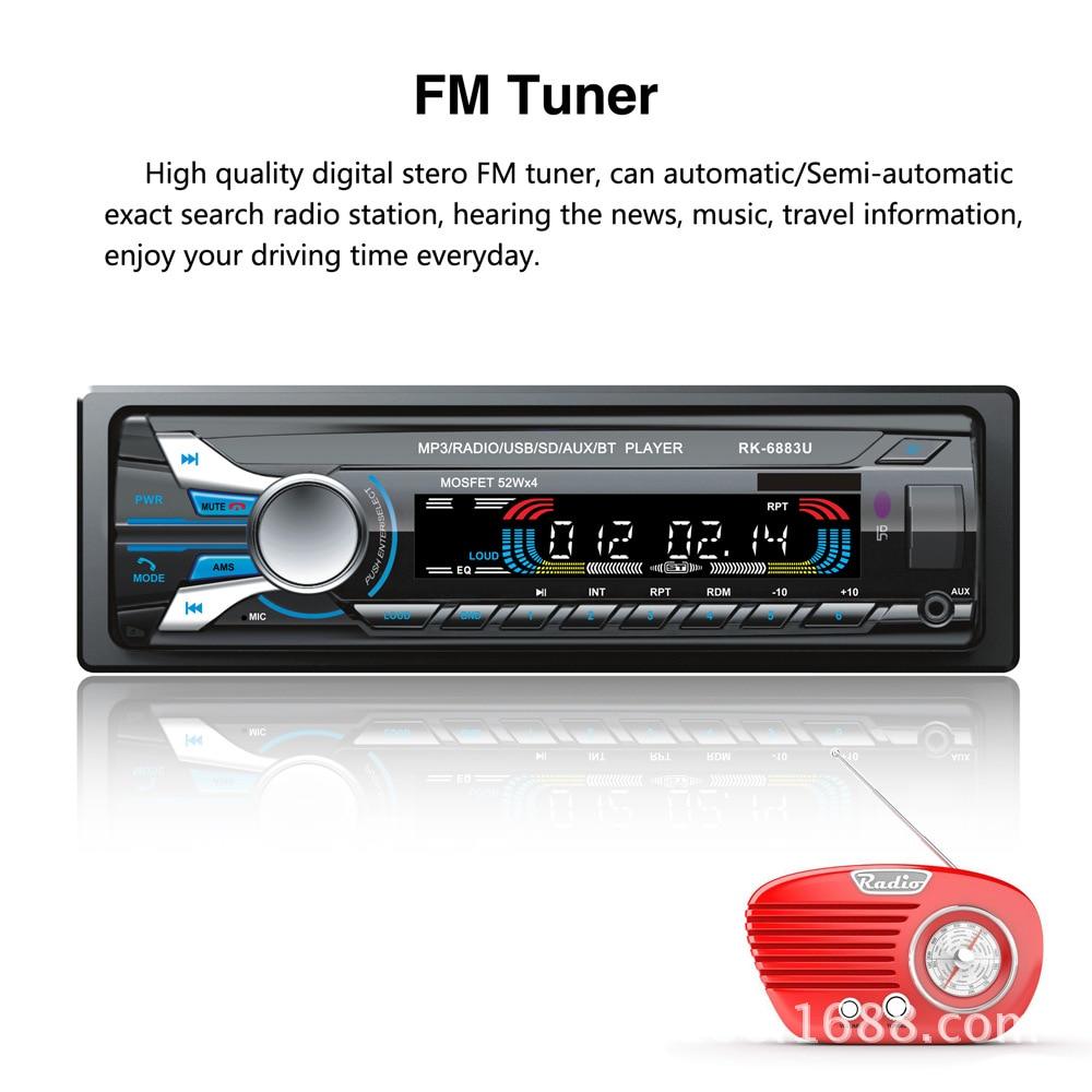 Auto autoradio Audio stéréo lecteur MP3 1 Din Bluetooth 12 V 7 couleur lumière avant détachable panneau Support SD/FM/AUX/USB - 4