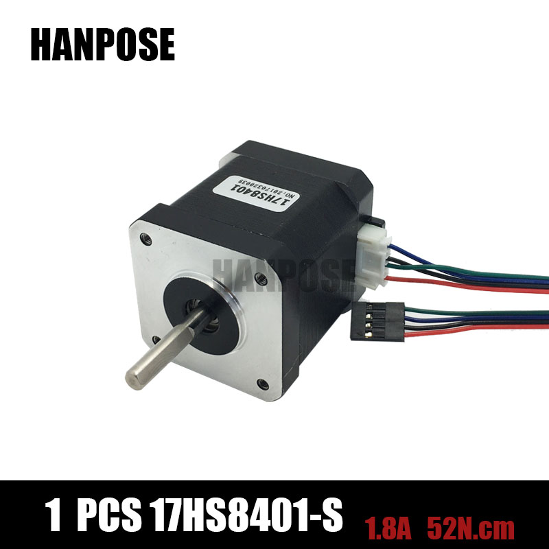 For 3D printer free shipping 1pcs 4-lead Nema17 Stepper Motor 42 motor Nema 17 motor 42BYGH 1.7A (17HS8401S) with DuPont line flsun 3d printer big pulley kossel 3d printer with one roll filament sd card fast shipping