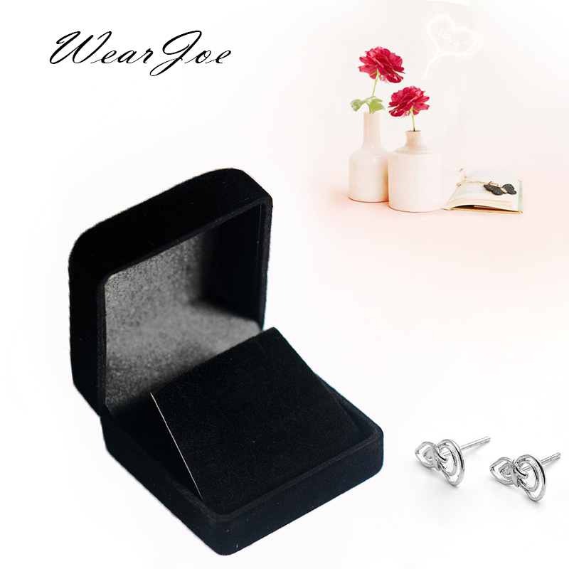 1 Black Portable Stud Earring Display Packaging Plastic Box Wrapped In Velvet Earring Small Pendant Storage Carrying Stand Case