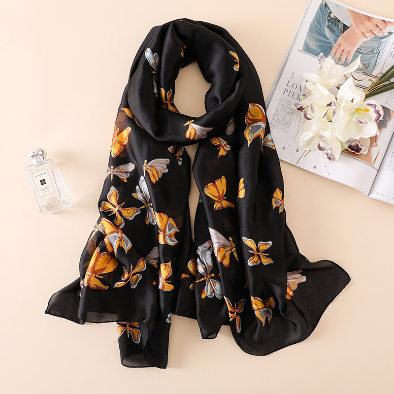 Women Fashion Butterfly   Scarf   Thin   Wraps   Beach Stoles hijab Embroidery Silk   Scarves     Wraps   foulard 180*90cm