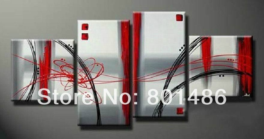Free shipping! Handmade abstract wall painting red and grey 4 pieces simple and nice home decor canvas