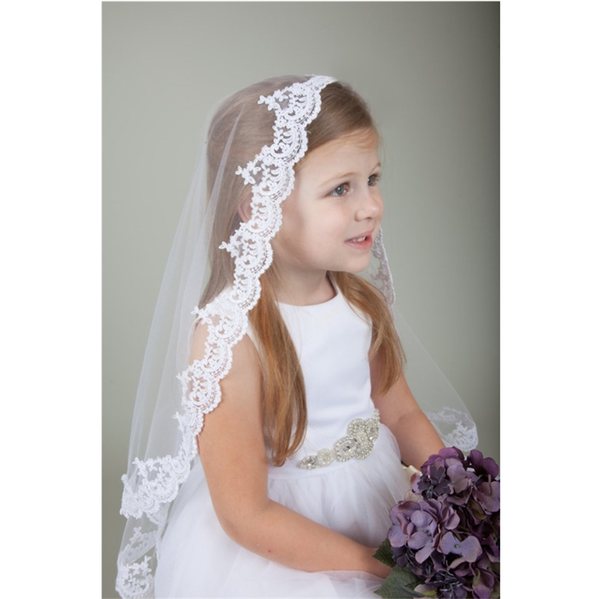 2019 New White Ivory Kids Girls First Communion Veils Tulle Bow Appliques Fingertip Wedding Flower Girl Veil Voile Mariage Fille