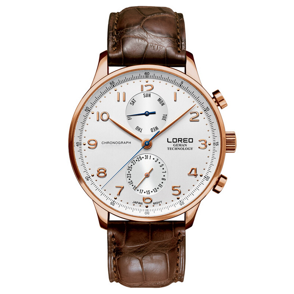LOREO Mens ชุดมัลติฟังก์ชั่นาฬิกาหนังธุรกิจนาฬิกาข้อมือควอตซ์สัปดาห์, วันที่-ใน นาฬิกาควอตซ์ จาก นาฬิกาข้อมือ บน   2