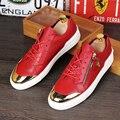 Новый 2016 мужчины натуральной кожи плоским заклепки ботинки классные ребята хип-хоп обувь высота увеличение loafer обувь размер 39-43