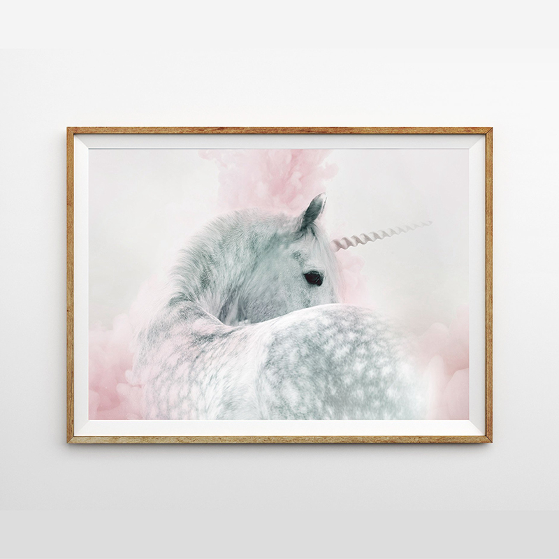 Girls Bedroom Decoration Unicorn Nursery Wall Art Print And Poster Pink And Grey Gray Pastel Pretty Canvas Painting Wall Picture