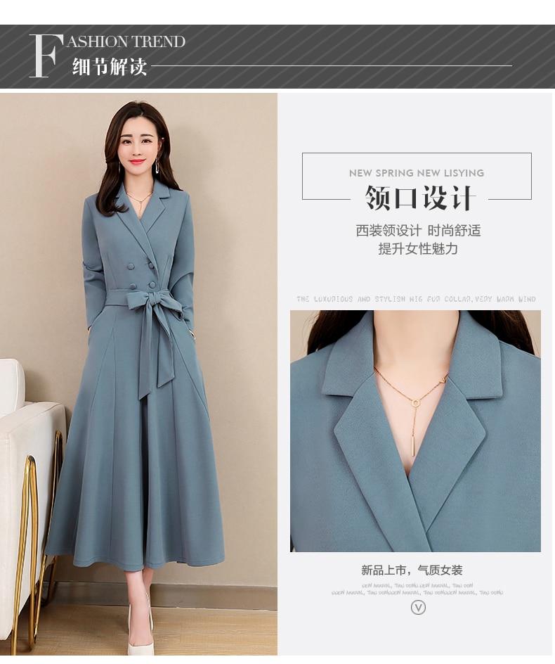 Spring and Autumn 2019 New Women's Dresses Korean Edition Long Sleeve Dresses Overlap Long Popular Temperament with Bottom 113