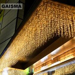 8 M x 3 M LED الستار نافذة أضواء الطوق زينة عيد الميلاد الزفاف الجنية أضواء حزب السنة الجديدة عطلة الإضاءة في الهواء الطلق