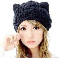 2016 Осенью и зимой freeshipping Шерсть трикотажные моды зимние шапки с ушами cat Женщины модные аксессуары