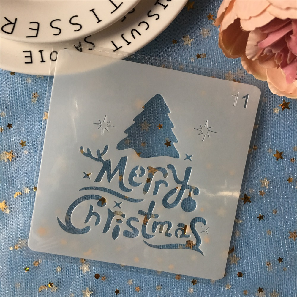 New 13cm Merry Christmas DIY Layering Stencils Painting Scrapbook Coloring Embossing Album Decorative Card Template