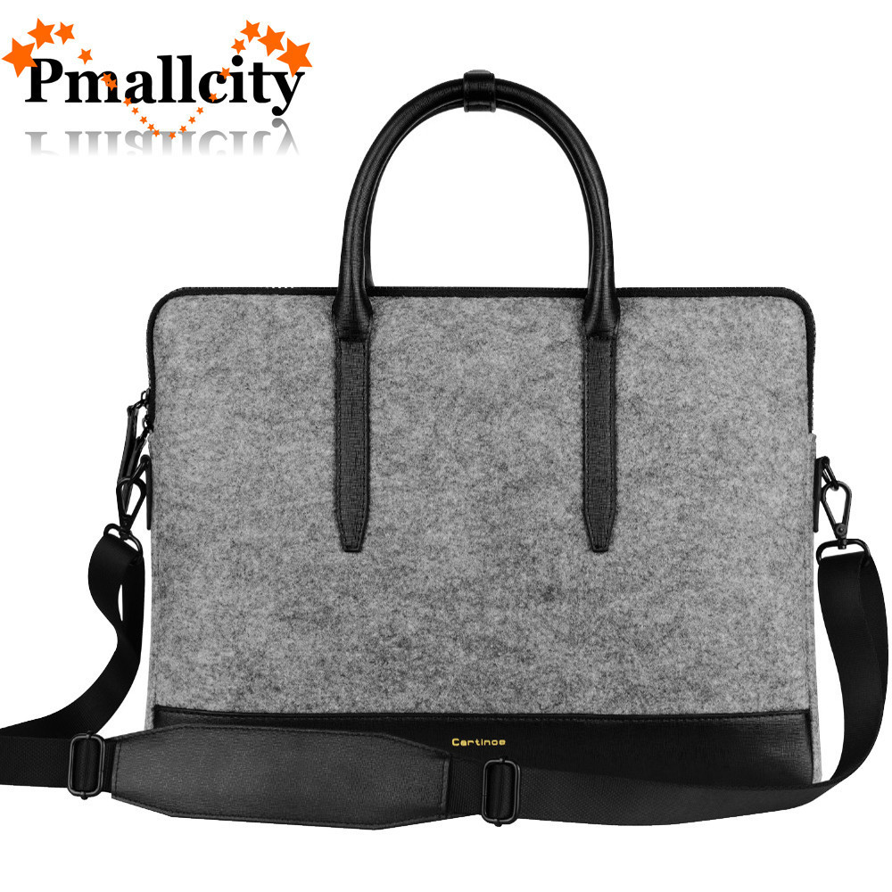 e00edf732db9 Fashion Wool Felt Women Tote bag laptop bag for macbook Touchbag Pro 13 15  inch briefcase Notebook Messenger Bag Ladies Handbag-in Laptop Bags   Cases  from ...
