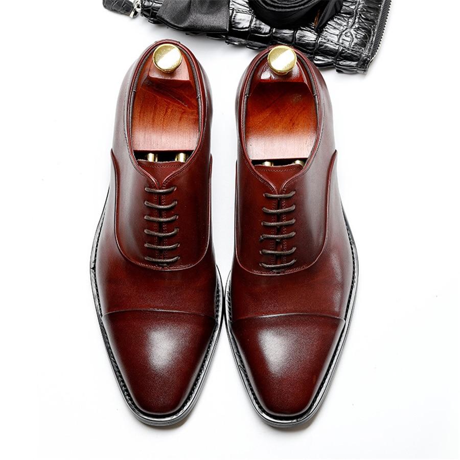 Ayakk.'ten Resmi Ayakkabılar'de 100% Hakiki inek deri brogue ayakkabı mens rahat daireler ayakkabı vintage el yapımı ayakkabı oxford ayakkabı erkekler için siyah Şarap kırmızı'da  Grup 1