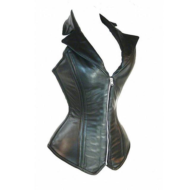 Con Cremallera frontal y Trasera del Lazo Negro de Cuero de Imitación Boned Lace Up Corset Bustier Gótico Steampunk top