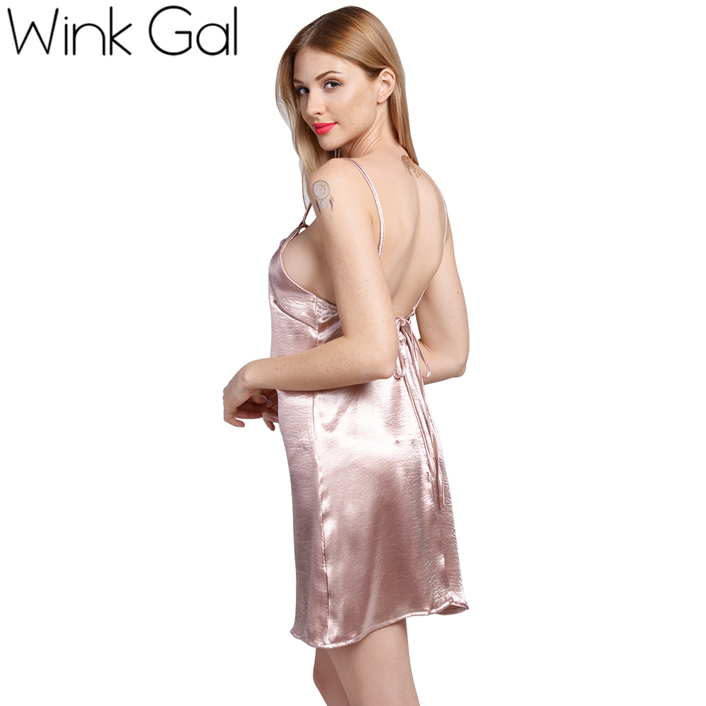 065a1fcad Wink Gal Satin Lace Up Slip Dress Silk Sexy Nightgowns Sleepwear Summer  Nightwear Sleeping Dresses Women 3257-in Nightgowns & Sleepshirts from  Underwear ...