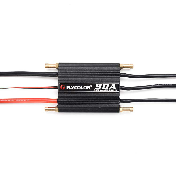 1PCS RC Boat 90A ESC Waterproof 2-6S ESC Electric Speed Controller with 5.5V/5A SBEC for Electric Gasoline Racing Boats h625 pnp spike fiber glass electric racing speed boat deep vee rc boat w 3350kv brushless motor 90a esc servo green