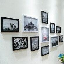 11 قطعة الحائط شنق Collage الأسود والأبيض إطار صور ديسبلاي جدار إطار بلاستيك للصور قابل للتعليق مجموعة الفن الحديث غرفة المنزل مكتب ديكور