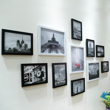 11 個ウォールハングコラージュ黒 & 白のフォトフレーム画像displaywallフォトフレームセット現代アートホームルームオフィスの装飾