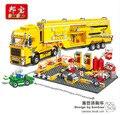 Kit de construcción modelo compatible con lego camión contenedor de carreras F1 3D modelo de construcción de juguete bloque Educativo hobbie para niños