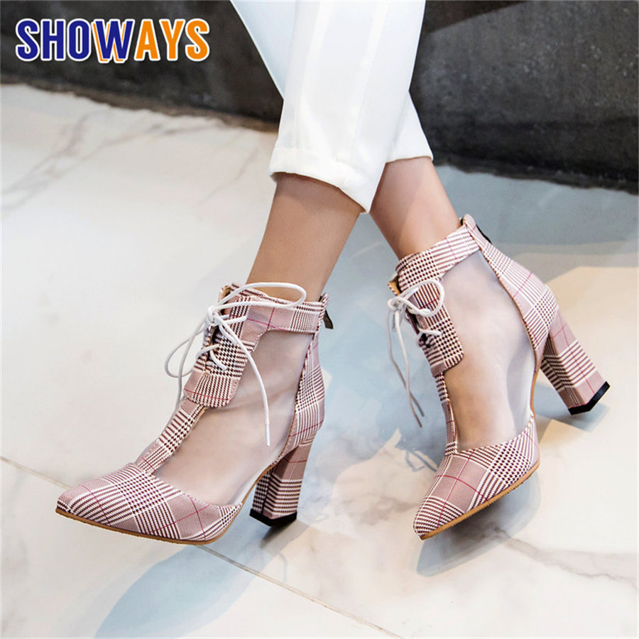 Women Summer Ankle Boots High Chunky Block Heels Pointed Toe Pink Cool Mesh PU Casual Party Office Lady Lace Zipper Short BootsWomen Summer Ankle Boots High Chunky Block Heels Pointed Toe Pink Cool Mesh PU Casual Party Office Lady Lace Zipper Short Boots