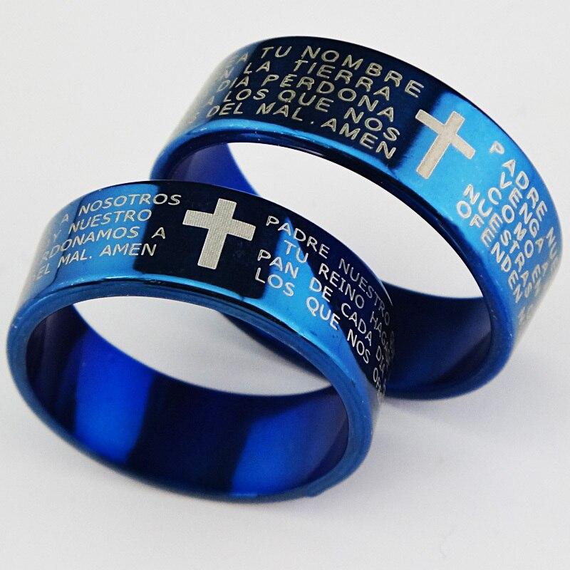 Натуральная воловья 6 м религиозные синий 316L Титан Нержавеющая сталь крест стихов Для Мужчин's Для женщин кольцо бижутерия оптом A065