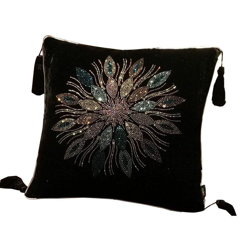Black Rhinestone Luxury Velvet Pillow  Pillow Cushion Sofa Cushions Car Cushion Diamond