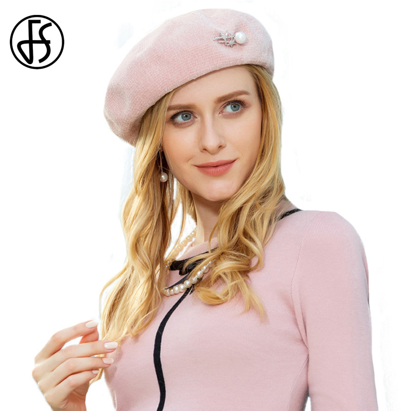 54c2e2db8c7 FS Elegant Pink Wool Beret Hat For Women Winter Warm Caps French Artist  Felt Hats Beanie Lady Baret Pearl Boina Femme Hiver