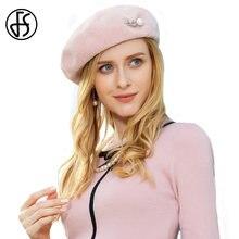 Sombrero elegante de Boina de lana rosa para mujer gorras calientes de  invierno artista francés sombreros 4865e4dcecc